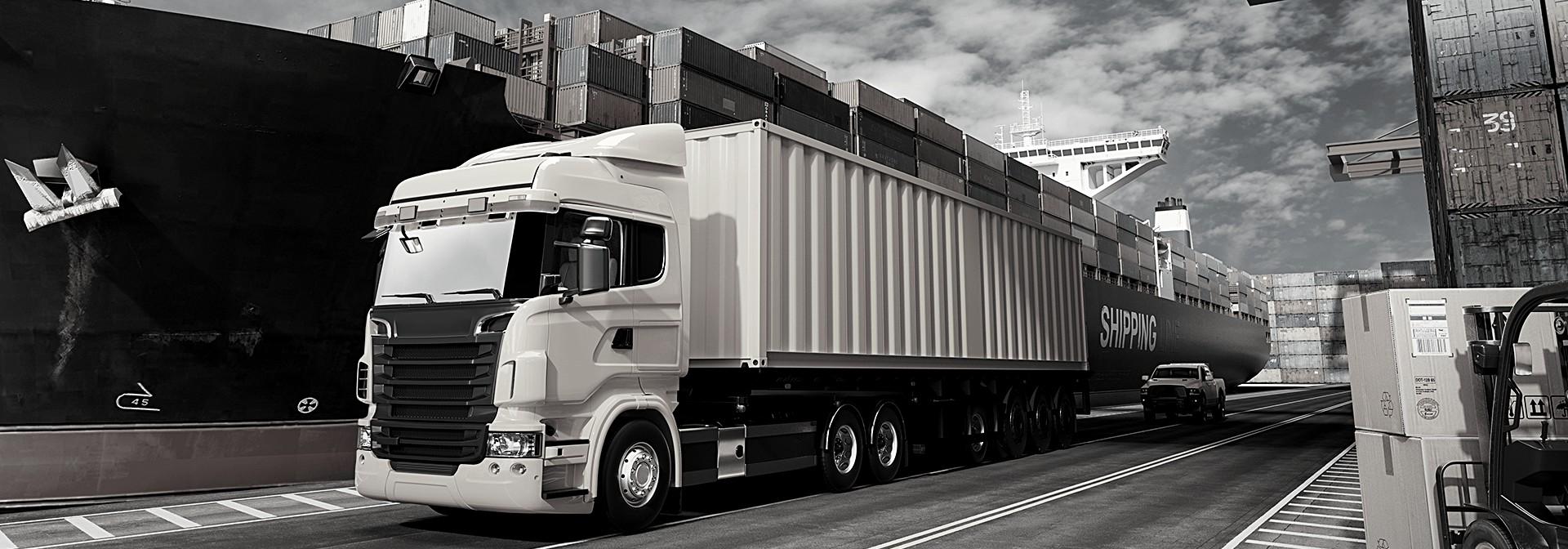 vrachtwagen in de haven
